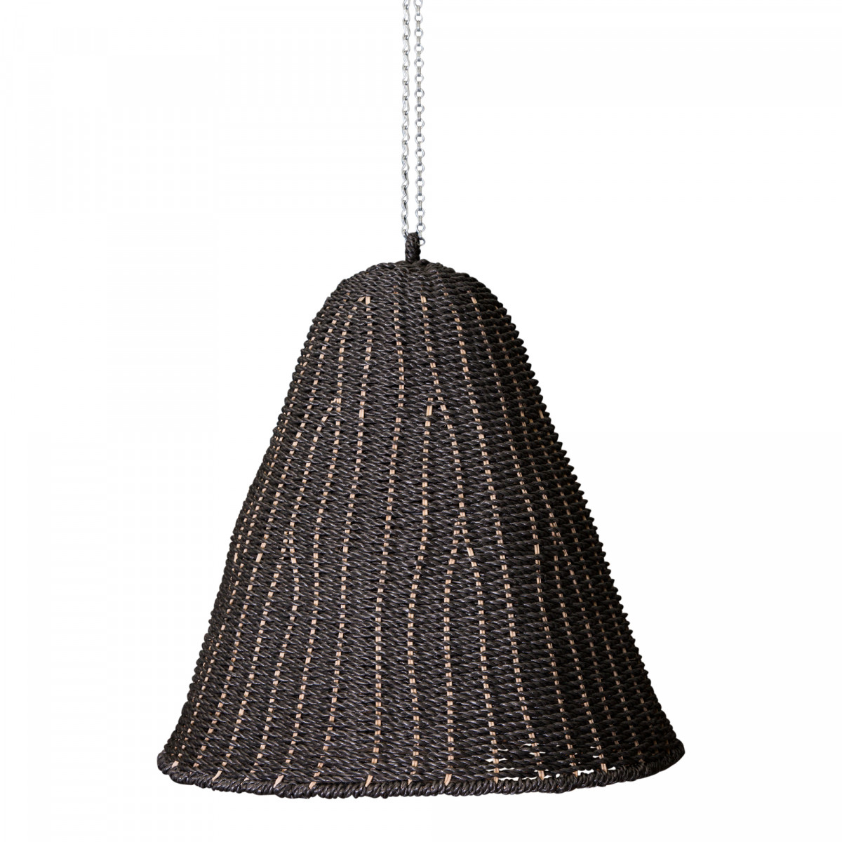 PTMD Lars schwarz XL Lampenschirm aus geflochtenem Seegras