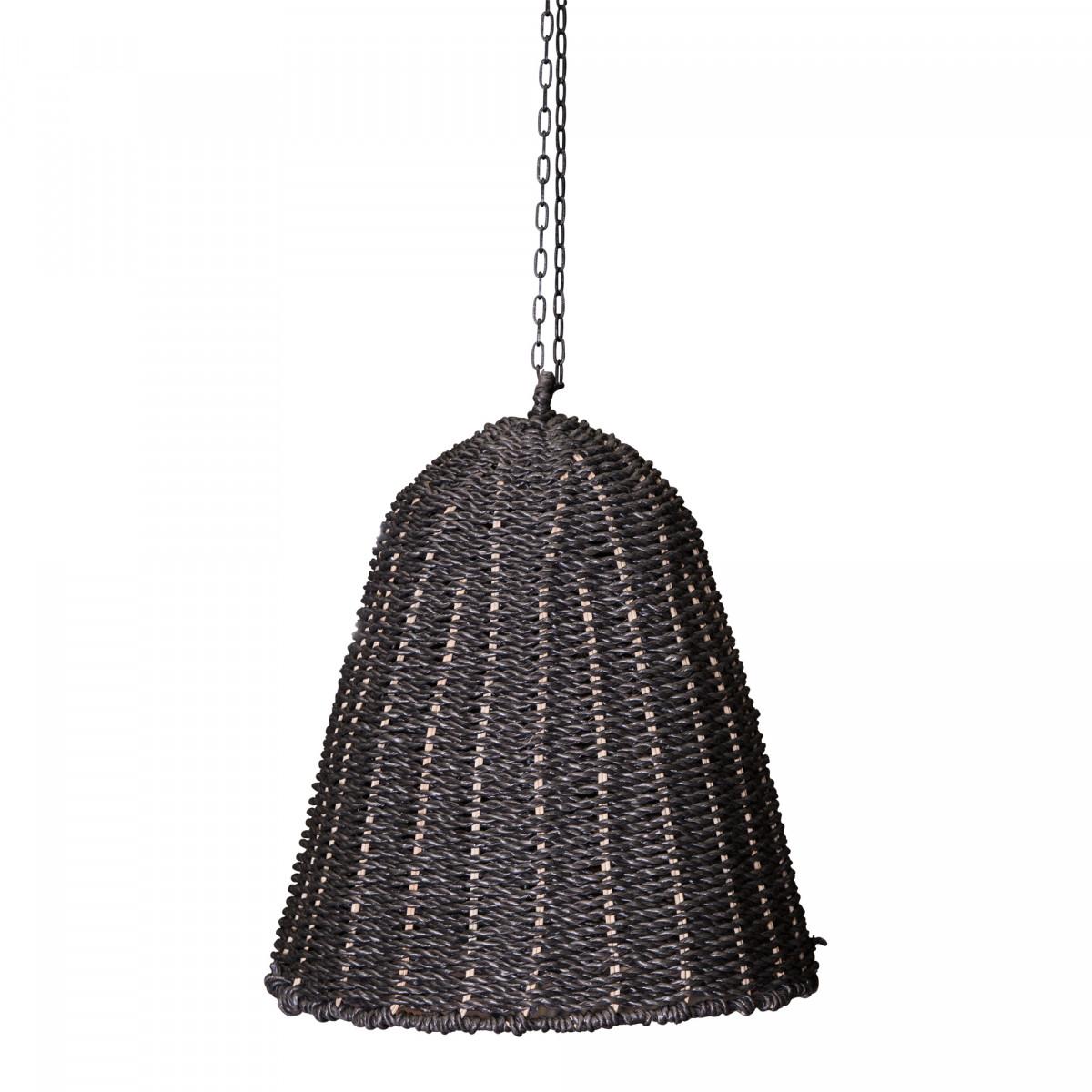 PTMD Lars schwarz L Lampenschirm aus geflochtenem Seegras