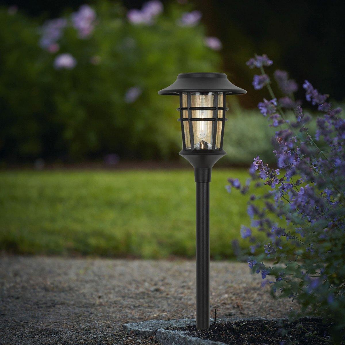 LED Solar Fackel mit Spieß, Außenbeleuchtung Ohne Verdrahtung, ladet sich auf über Sonnlicht, in der Farbe Schwarz, von der Marke KS Beleuchtung, Umweltfreundlich Außenbeleuchtung