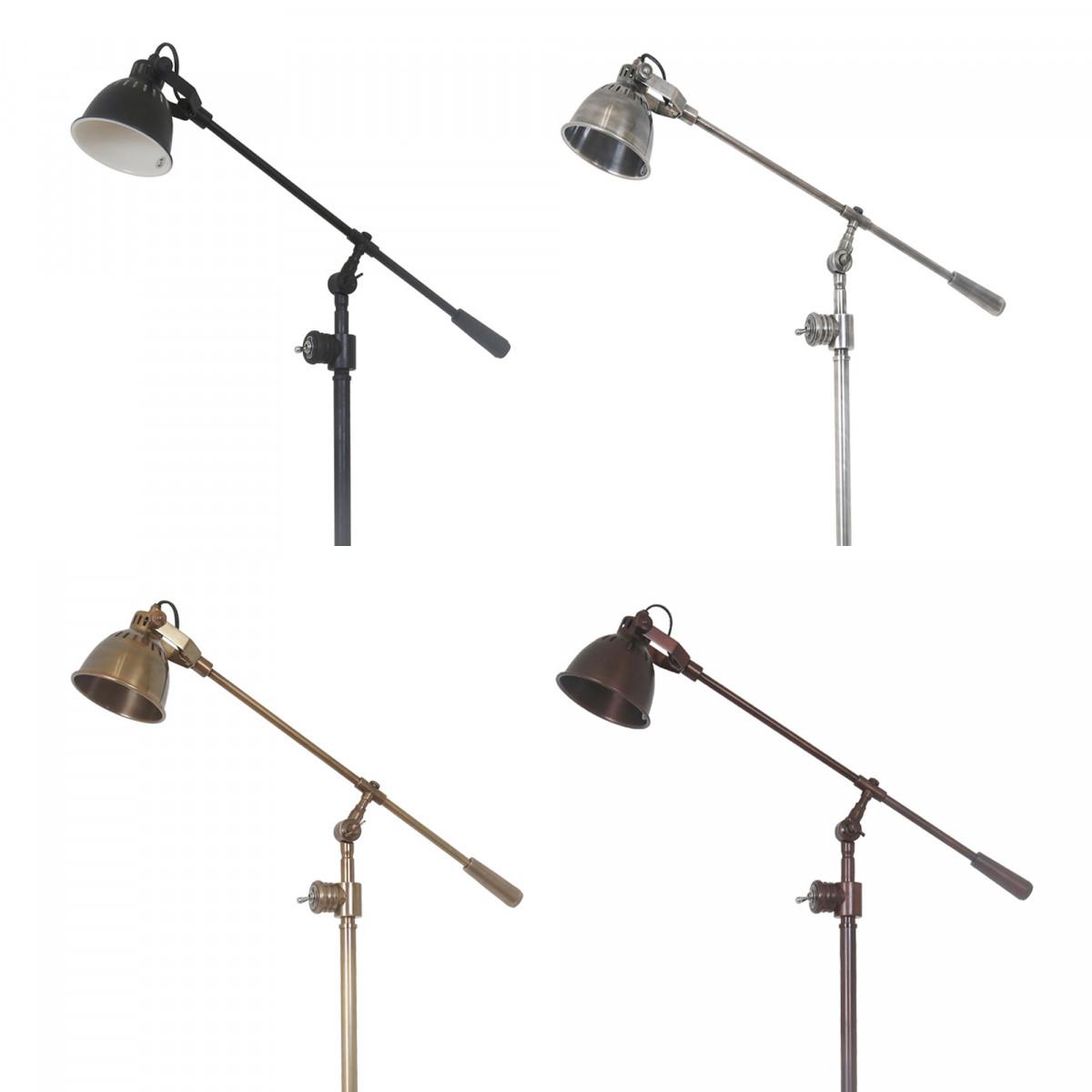 Industrie-Stehlampe Archer Antik-Silber