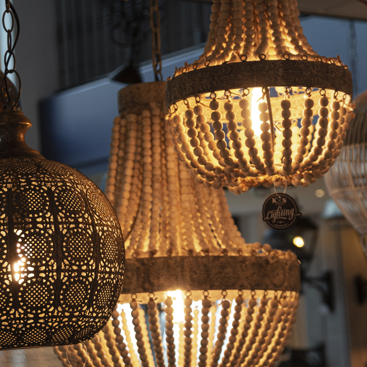 Nostaluce - Exklusive Pendelleuchte mit handgemachte Holzperlen und WIFI LED