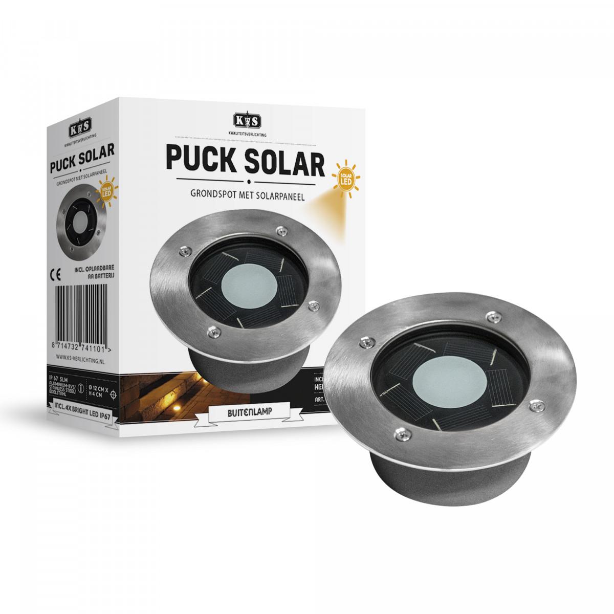 LED Solar Bodeneinbauleuchte rund Puck solar