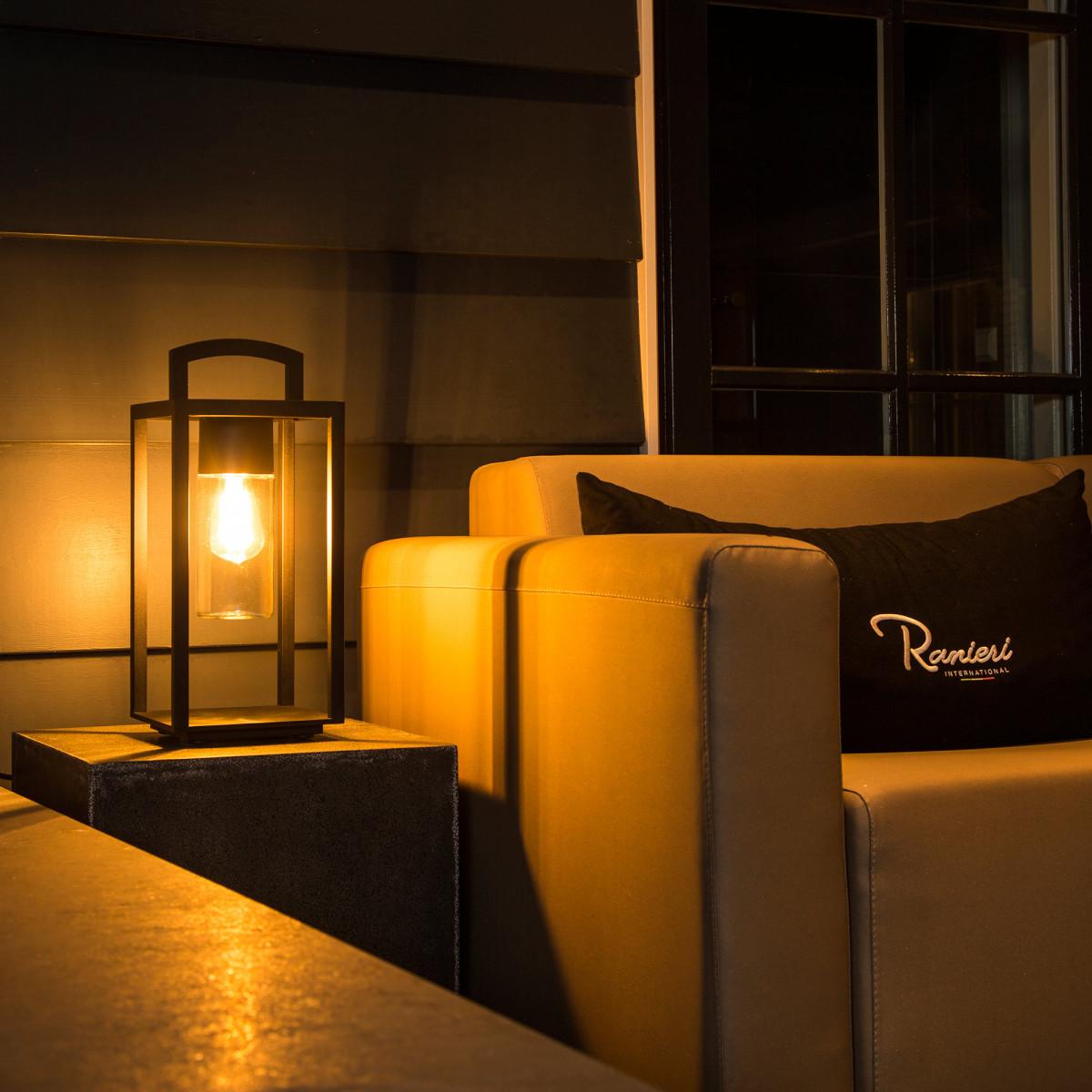 Lounge Auβenleuchte mit Stecker, elegante, tragbare Außenlampe Schwarz, Nostalux.de