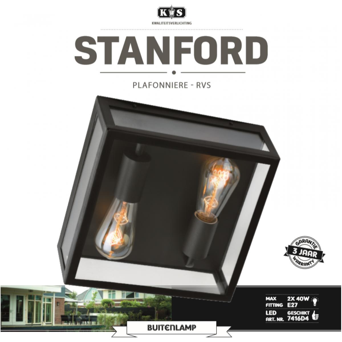 Stanford Deckenleuchte Schwarz Moderne Außenleuchte Mit 2x E27 Fassung, quadratischen Rahmen aus hochwertigem Edelstahl