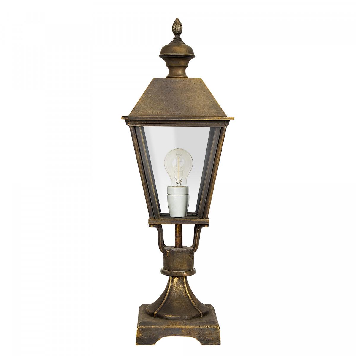 Klassische bronzene Gartenlampe Halle Sockel S