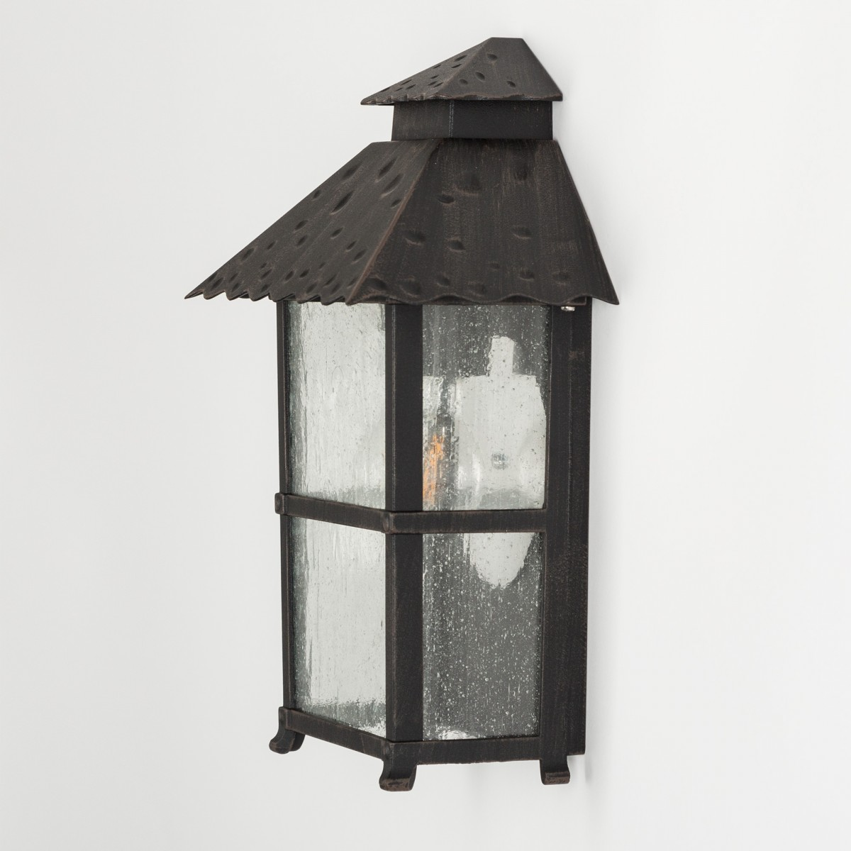 Nancy - Klassische Flache Aussenwandlampe Braun im Landhausstil