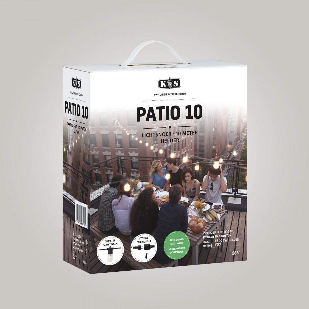 Patio Lichterkette 10m / 12 Fassungen