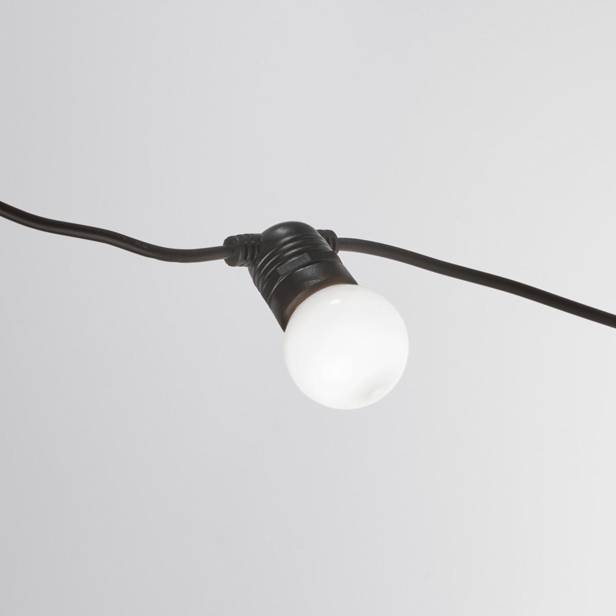 Partybeleuchtung LED Lichterkette 10 m Opal - 15 Fassungen