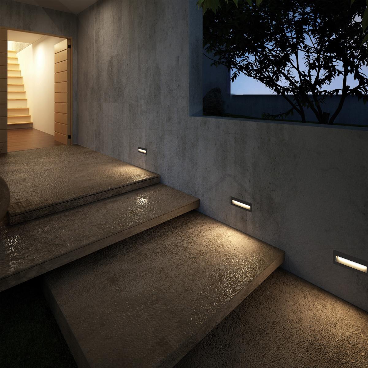 Einbauspot Slice LED downlighter  Treppe Außen Innen Wandeinbauleuchte