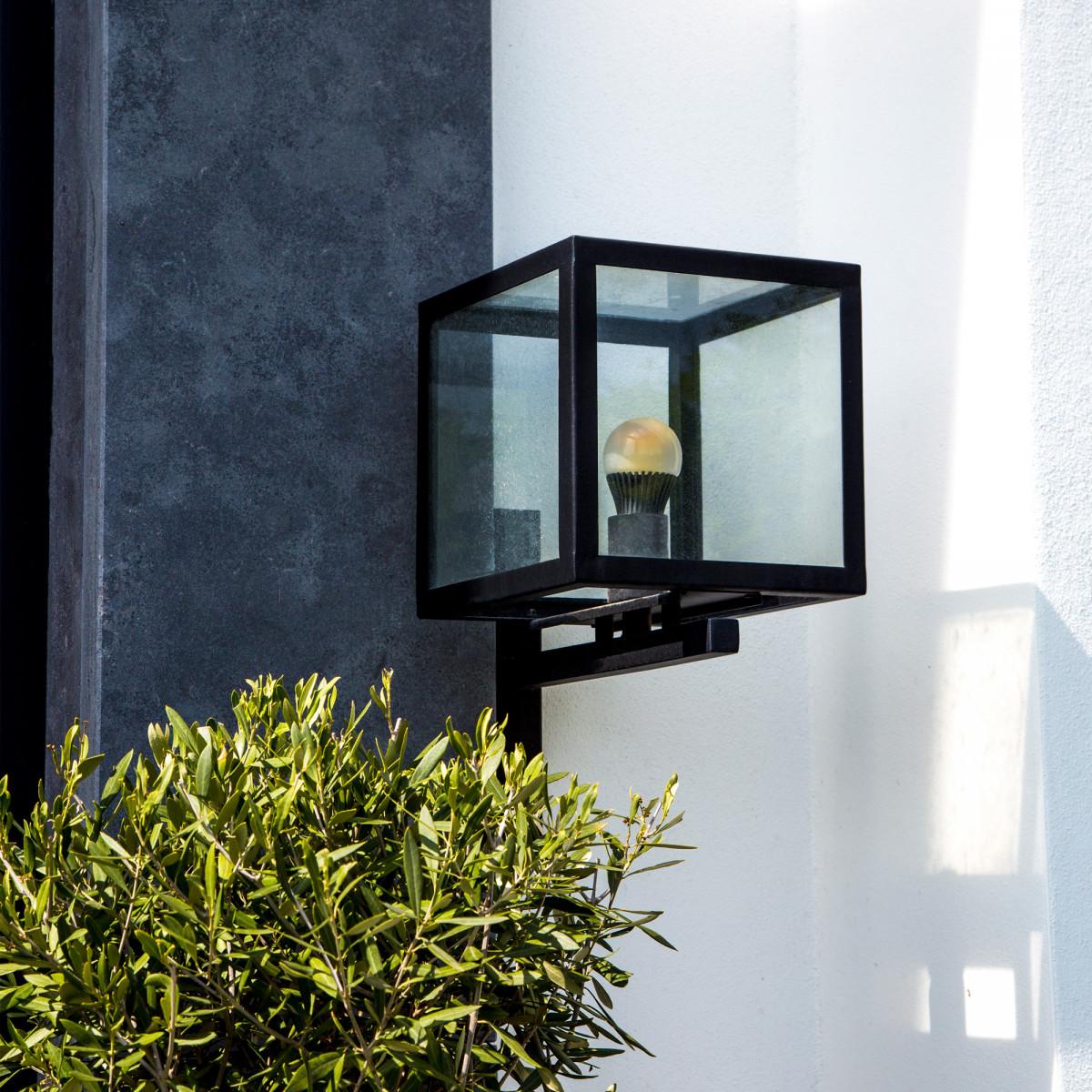 Loosdrecht Wandlampe, Außenwandleuchte Schwarz, kubische Wandlampe mit luxuriöser Ausstrahlung