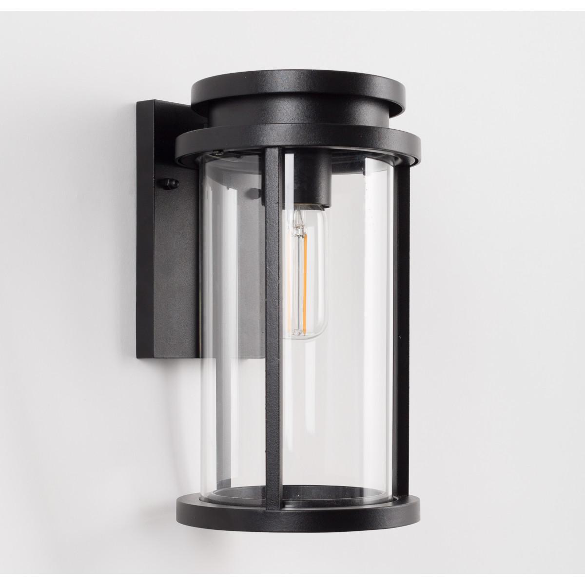 Sydney L Auβenleuchte, zeitloses Design, Außenwandleuchte Schwarz, das Leuchtmittel sichtbar, E27