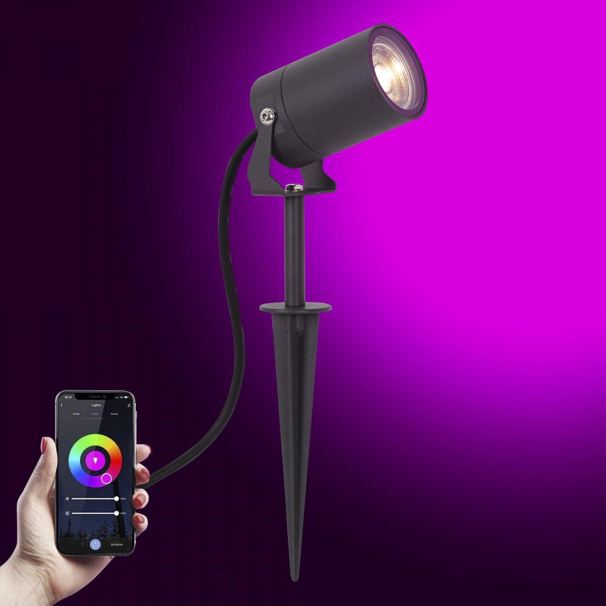 Multicolor Smart LED Gartenspot Stark Anthrazit