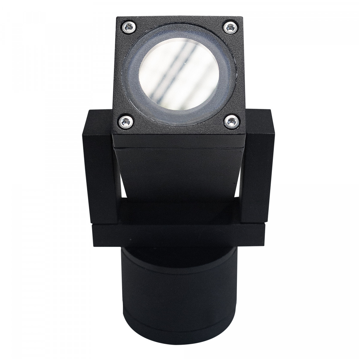 Schwenkbarer LED Wandspot, Cubic Alu Schwarz + LED lampe