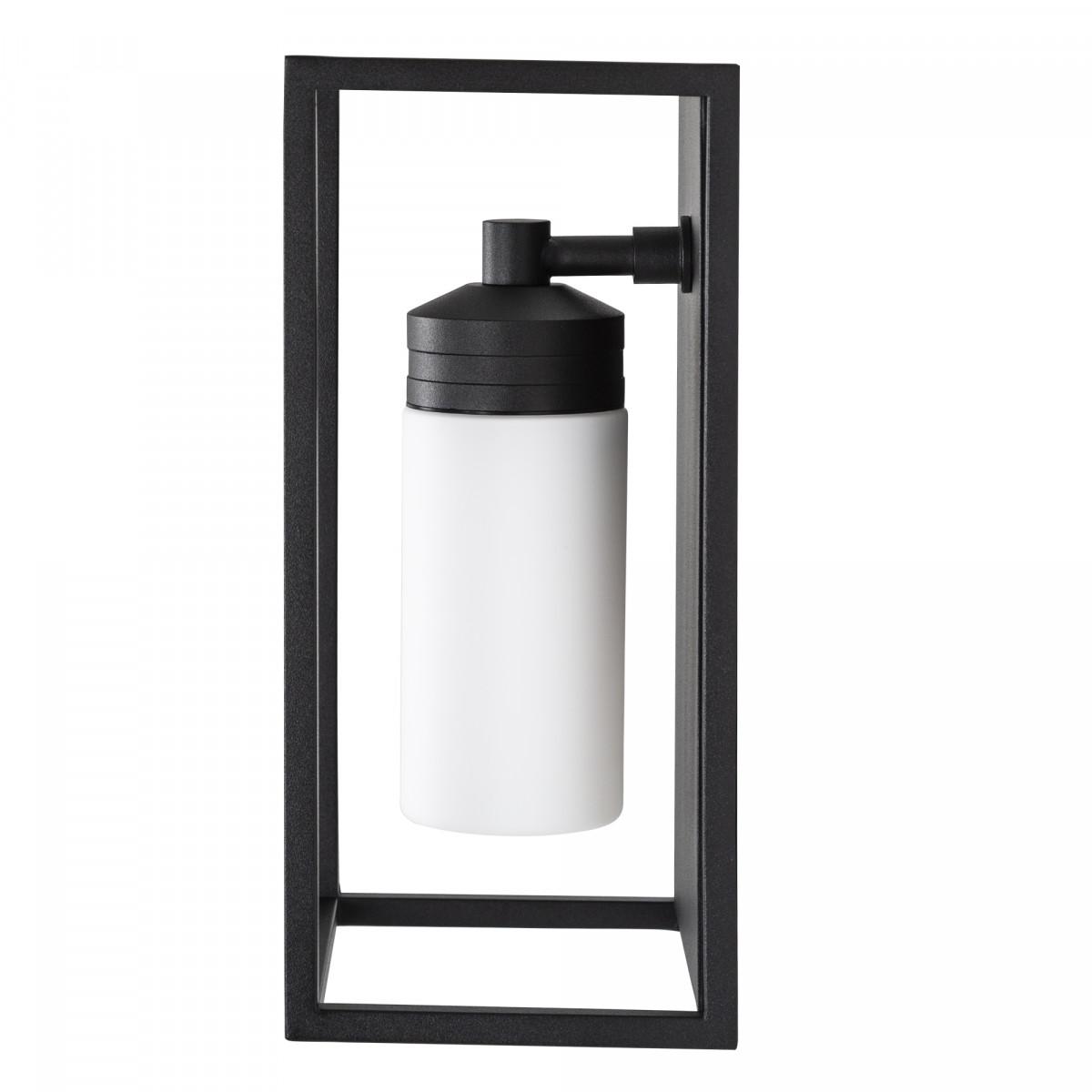 Hudson Außenleuchte Schwarz mit Milchglas