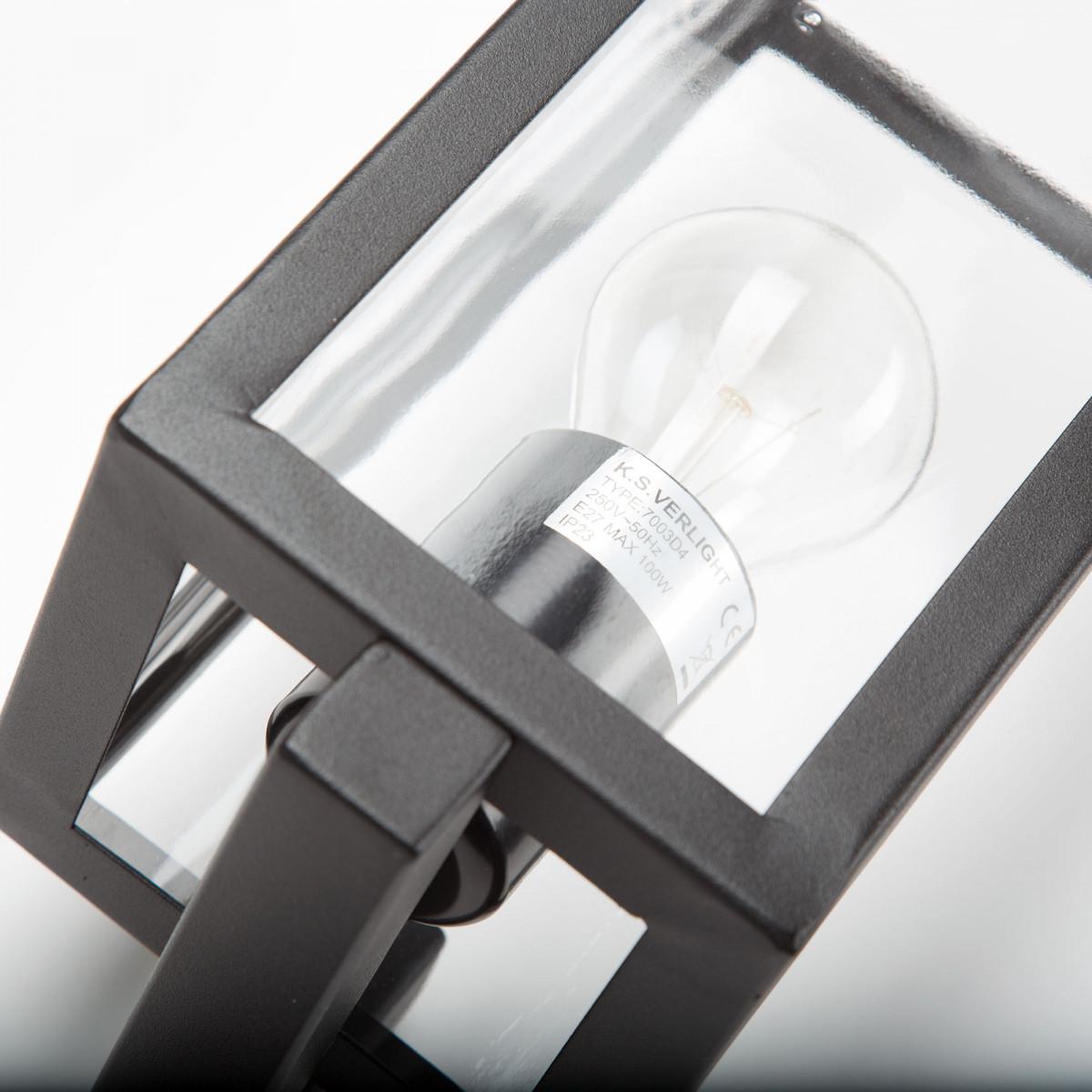 Moderne Außenwandleuchte Huizen Schwarz stilvoll und im Trend Außenlampe klaren Verglasung